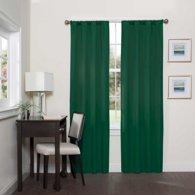 """84""""x37"""" Darrell Thermaweave Blackout Curtain Panel Dark Green - Eclipse"""