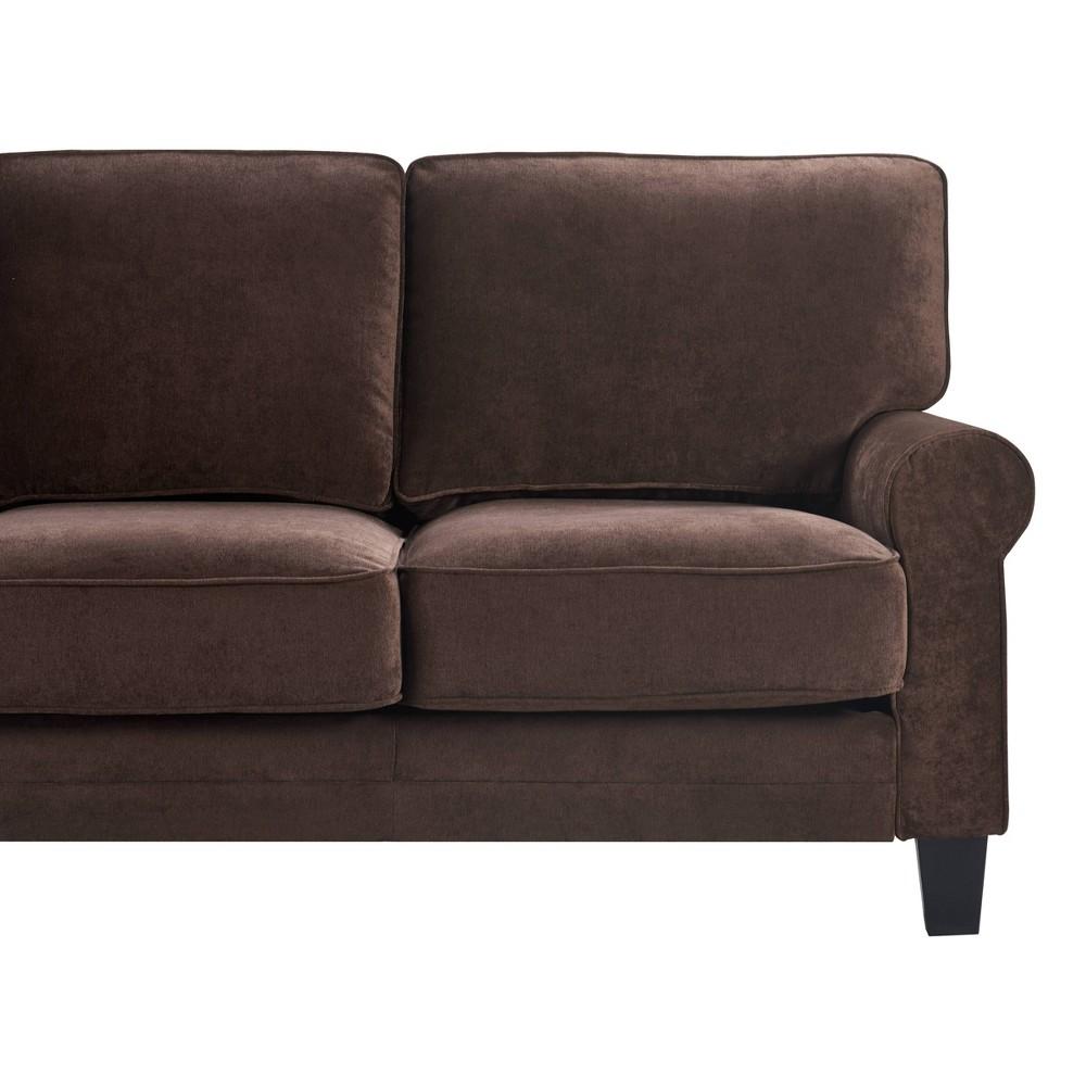 "Image of ""77"""" Round Copenhagen Arm Fabric Sofa with Storage Dark Brown - Serta"""