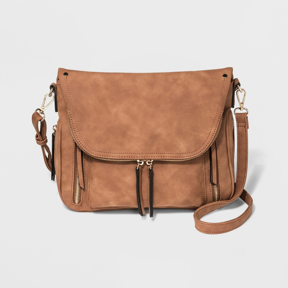 Image of Violet Ray Kimmie Zippered Pocket Flap Crossbody Bag - Brown, Girl's