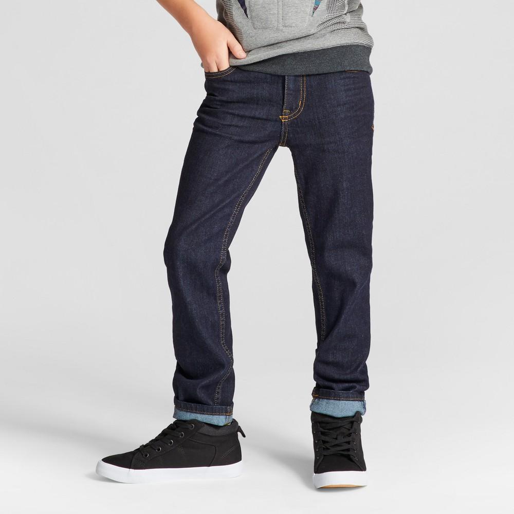 Boys' Rinse Wash Skinny Jeans - Cat & Jack Dark Blue 12 Husky