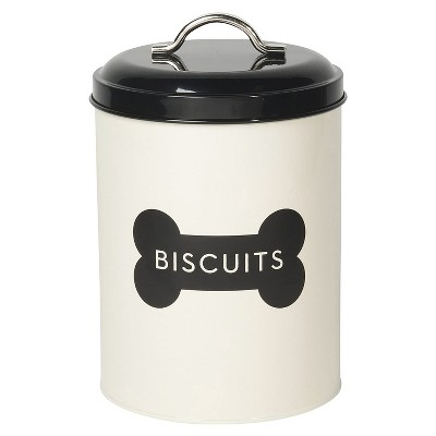 """Now Designs 5.4 x 5.4 x 8.2"""" Dog Pet Biscuit Bone Treat Metal Container Holder Kitchen Countertop Canister Tin w/ Black Lid & Design, Ivory"""