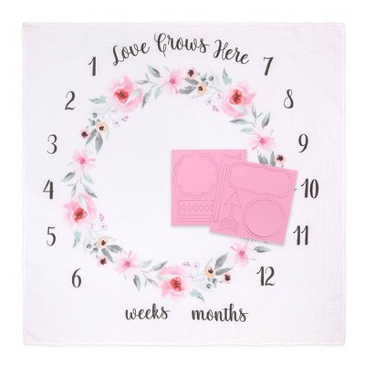 The Peanutshell Farmhouse Milestone Blanket Love Grows Here - Pink