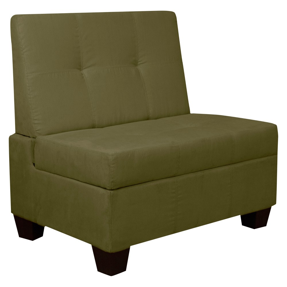 Image of Valet Tufted Padded Hinged Storage Chair - Suede - Epic Furnishings, Olive Heather