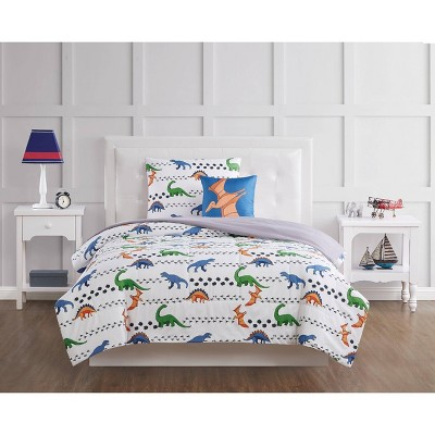 Dino Tracks Comforter Set White - My World