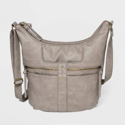 Bueno Zip Closure Convertible Shoulder Bag - Gray