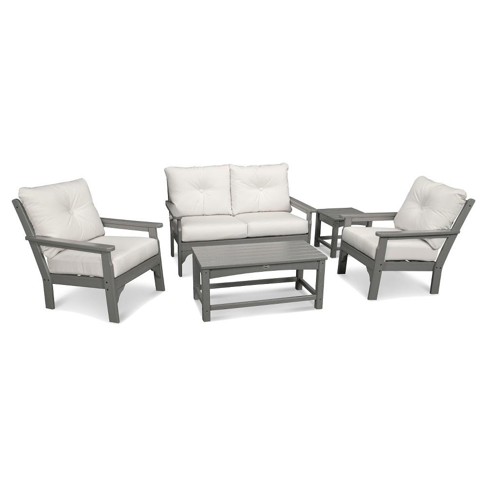 Polywood Vineyard 5 Piece Deep Seating Settee Set - Slate Gray/Bird's Eye, Off White