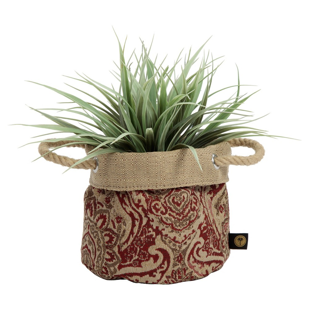 Image of 6 Nahla Fabric Floor Planter In Venice - Red - Bombay Outdoors