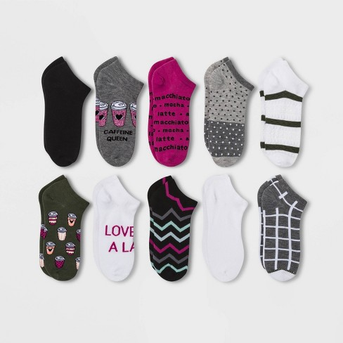 Women's 10pk Coffee Low Cut Socks - Xhilaration™ Heather Charcoal One Size - image 1 of 1