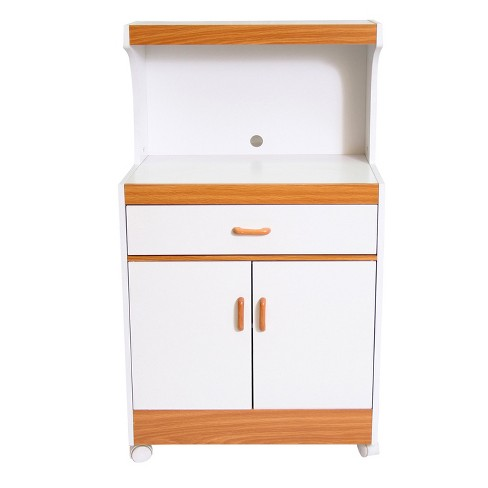 Traditional Microwave Cart - White/Oak - Home Source Industries - image 1 of 9