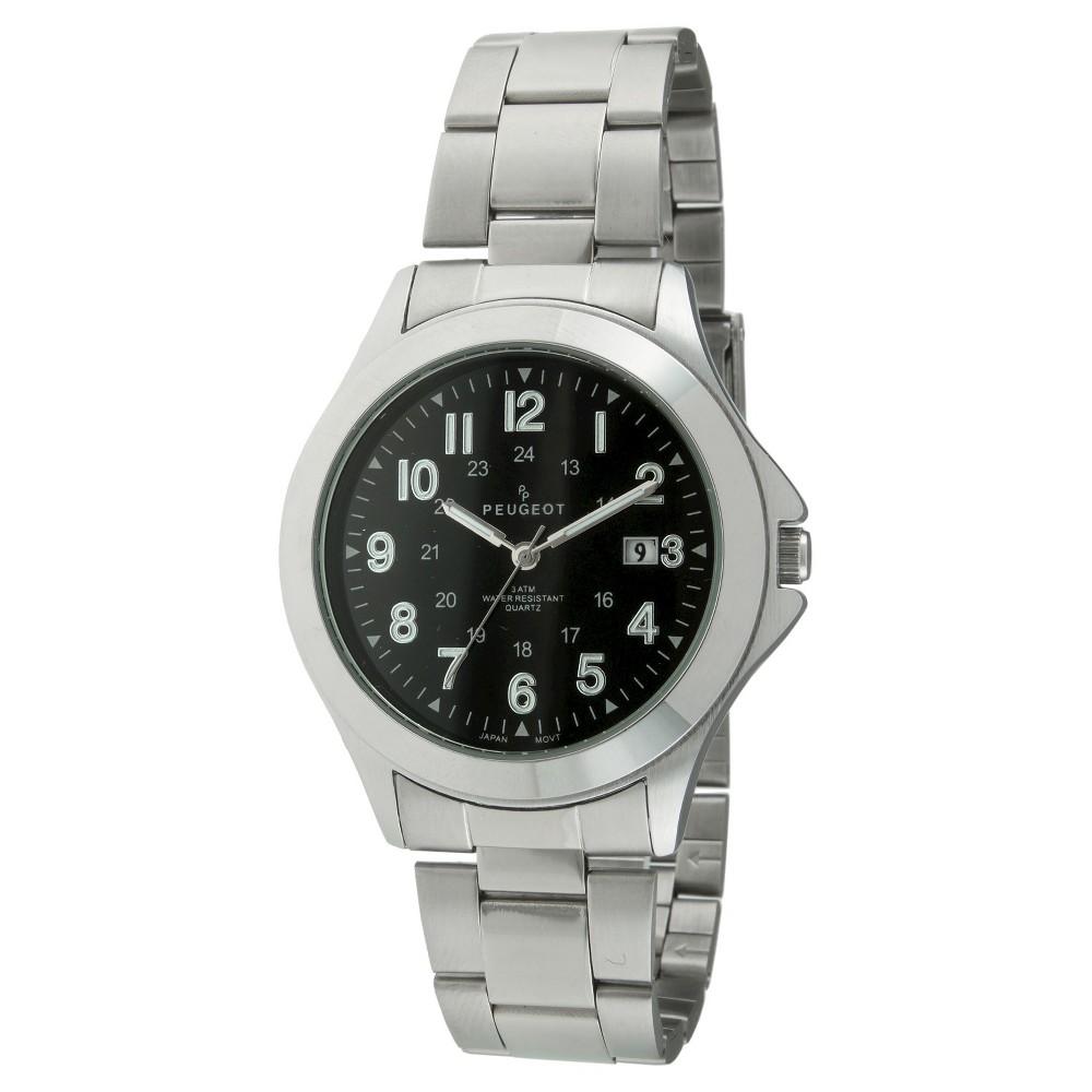 Image of Men's Peugeot Round Easy Read Sport Metal Bracelet Watch - Silver, Men's, Size: Small, Black