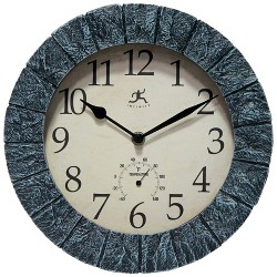 """10.5"""" Stone Wall Clock/Thermometer Slate - Infinity Instruments"""