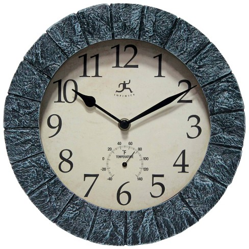 Stone Indoor and Outdoor Wall Clock Slate - Infinity Instruments - image 1 of 4