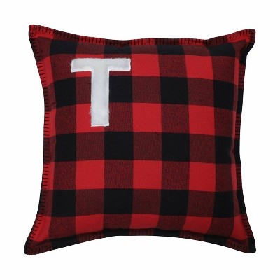 Buffalo Plaid 'T' Throw Pillow Red/Black - Pillow Perfect