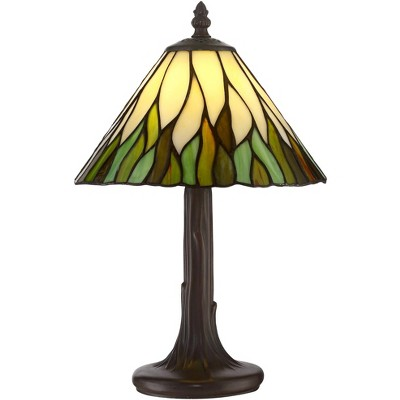 "Robert Louis Tiffany Cottage Accent Table Lamp 14 1/2"" High Brown Tree Stained Glass Shade for Bedroom Bedside Nightstand Office"