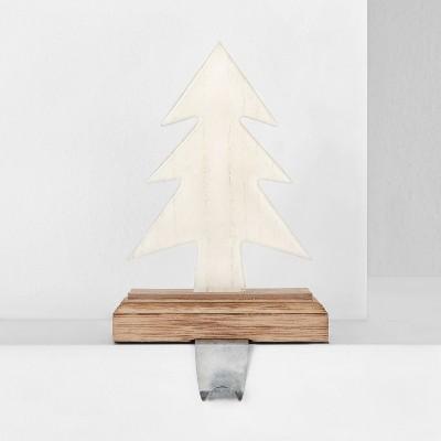 Enamel White Tree on Wood Base Christmas Stocking Holder - Wondershop™