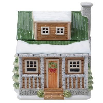 128oz Earthenware Winter Forest 3D Lodge Cookie Jar - Certified International