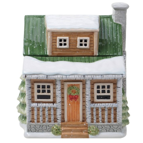 128oz Earthenware Winter Forest 3D Lodge Cookie Jar - Certified International - image 1 of 3