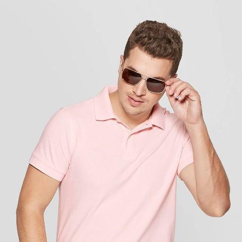 7449724a2cbd5 Men s Polarized Navigator Sunglasses - Goodfellow   Co™ Gold   Target