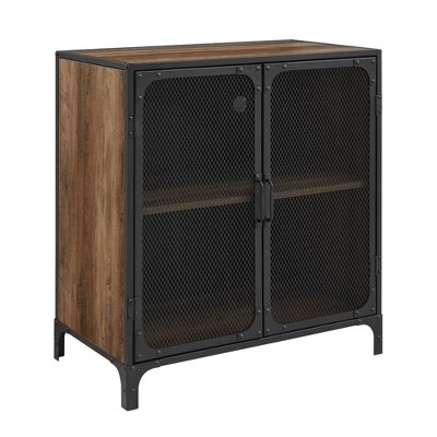 """30"""" Industrial Accent Cabinet with Mesh - Saracina Home"""