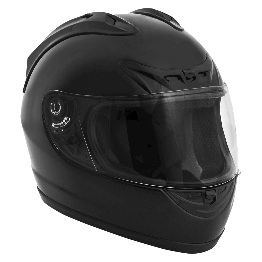 Fuel Full Face Black Motorcycle Helmet - Small Style comes in a close second behind safety with this full-face motorcycle helmet from Fuel. It features a lightweight Abs design with an adjustable strap. This helmet is Dot approved and water resistant. Ideal for off-roading and riding trails. Ages 16 and up. Available in standard sizes.