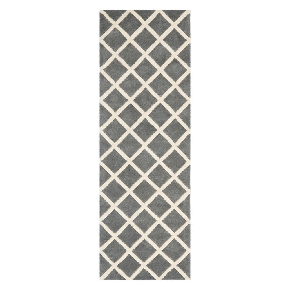 23X7 Geometric Tufted Runner Dark Gray/Ivory - Safavieh Coupons