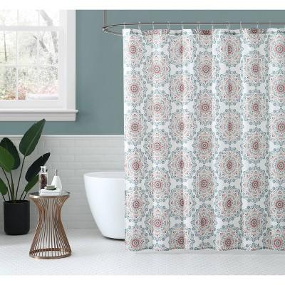 Medallion Shower Curtain Coral - Peach & Oak