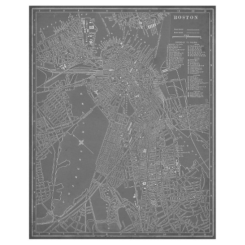 City Map Of Boston Unframed Wall Canvas Art 24x30 Target