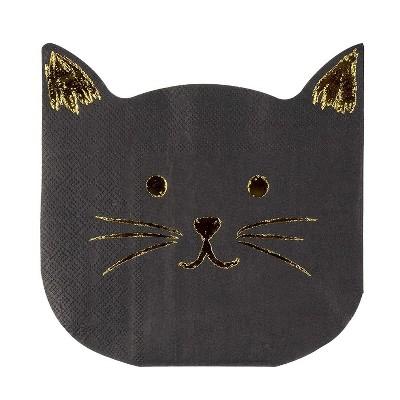 "Blue Panda 50-Pack Disposable Paper Napkins Cat Die-Cut Shaped 6.5"" Black Party Supplies"