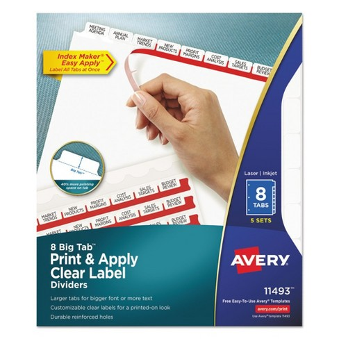 avery 11 x 8 12 big tab index maker label dividers with 8 tab white 5 sets per pack