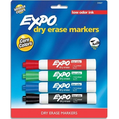 EXPO Dry Erase Markers, Chisel Tip, 4ct - Core Colors