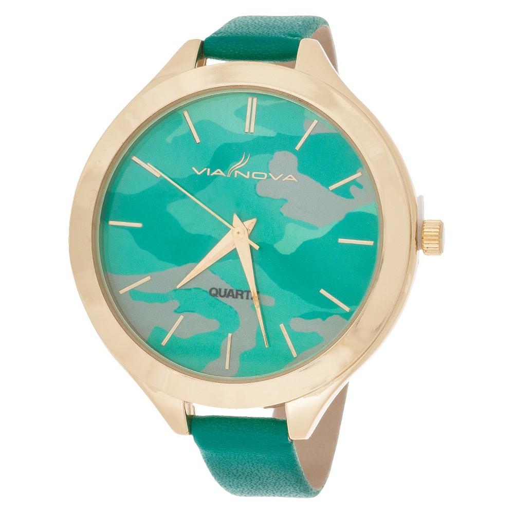 Women's Skinny Leatherette Strap Analog Watch - Green Camo & Gold - Xhilaration