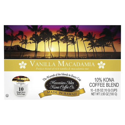Hawaiian Isles Vanilla Macadamia Medium Roast Coffee - Single Serve Pods - 10ct - image 1 of 1