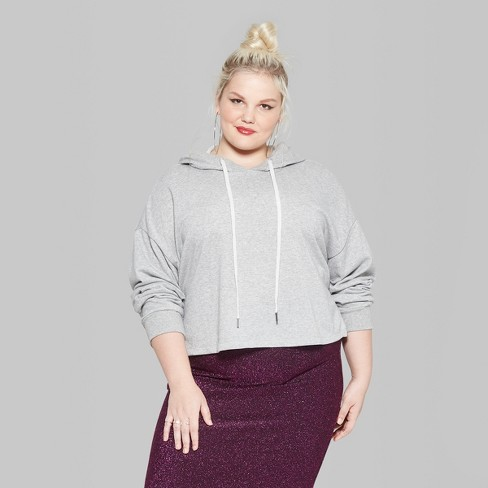 7744f6d6a46d4 Women s Plus Size Long Sleeve Lurex Cropped Hoodie - Wild Fable™ Heather  Gray