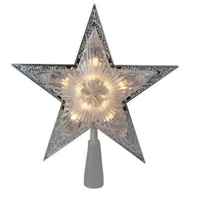 """Kurt S. Adler 11"""" Lighted Silver Star with Cut-Out Design Christmas Tree Topper - Clear Lights"""