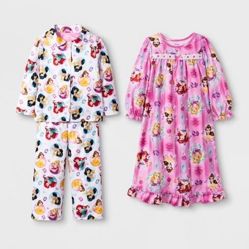 2f1dbd40e8 Toddler Girls  Disney Princess 3pc Pajama Set - Pink 4T   Target