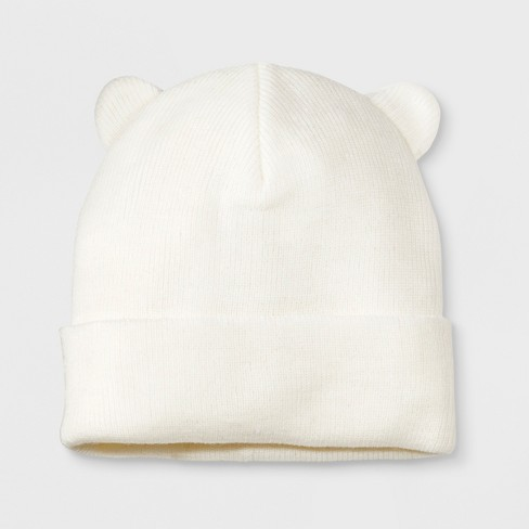 Girls' Cuffed Critter Beanie - Cat & Jack™ Cream One Size - image 1 of 2