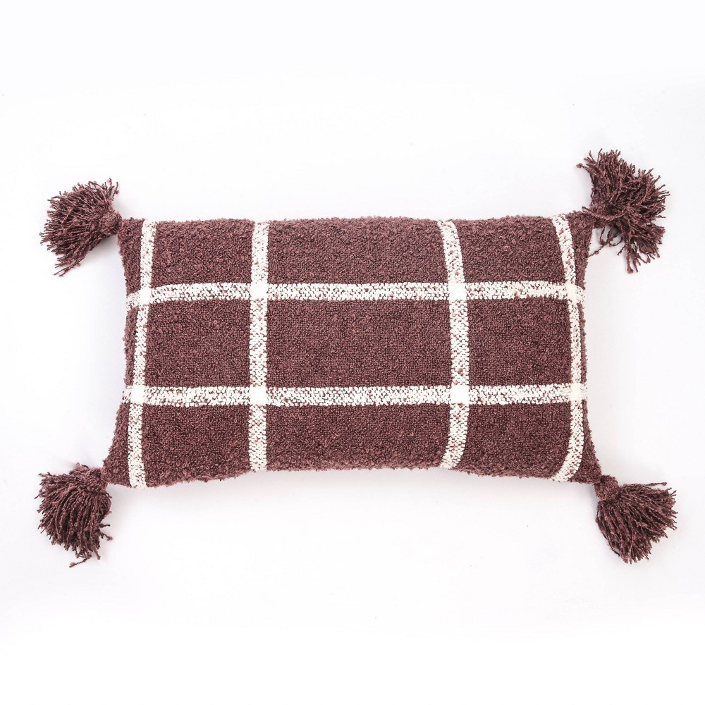 "Image of ""14""""x24"""" Plaid Boucle Woven Throw Pillow Mauve - Evergrace"""