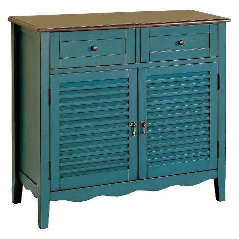 Sun & Pine Tawnya Country Style 2 Drawer Cabinet Blue - image 1 of 3