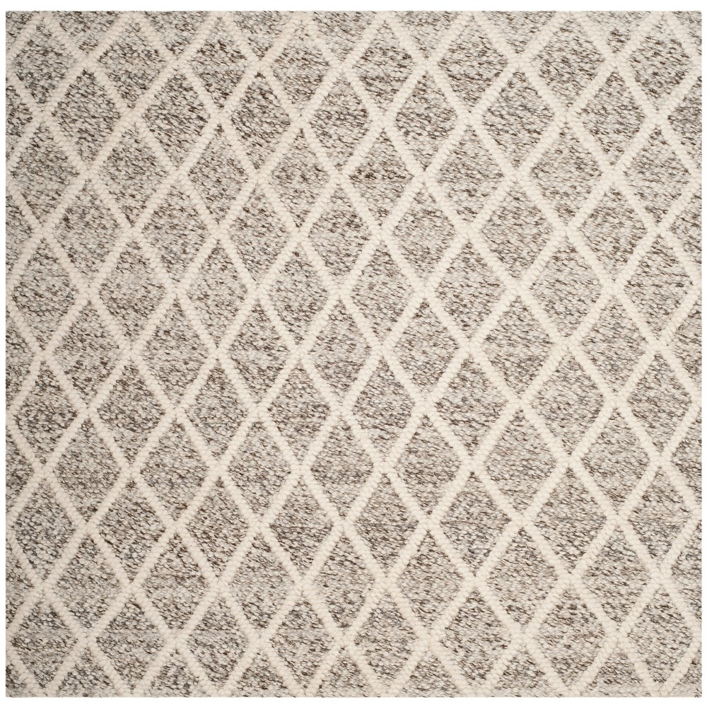 6'X6' Woven Diamond Square Area Rug Ivory/Stone (Ivory/Grey) - Safavieh