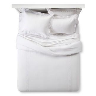 White Crochet Trim Linen Blend Comforter Set (King) 3-pc - Simply Shabby Chic™