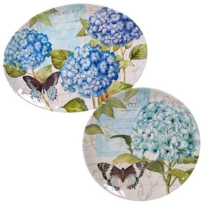 2pc Melamine Hydrangea Garden Serving Set Blue/Purple - Certified International