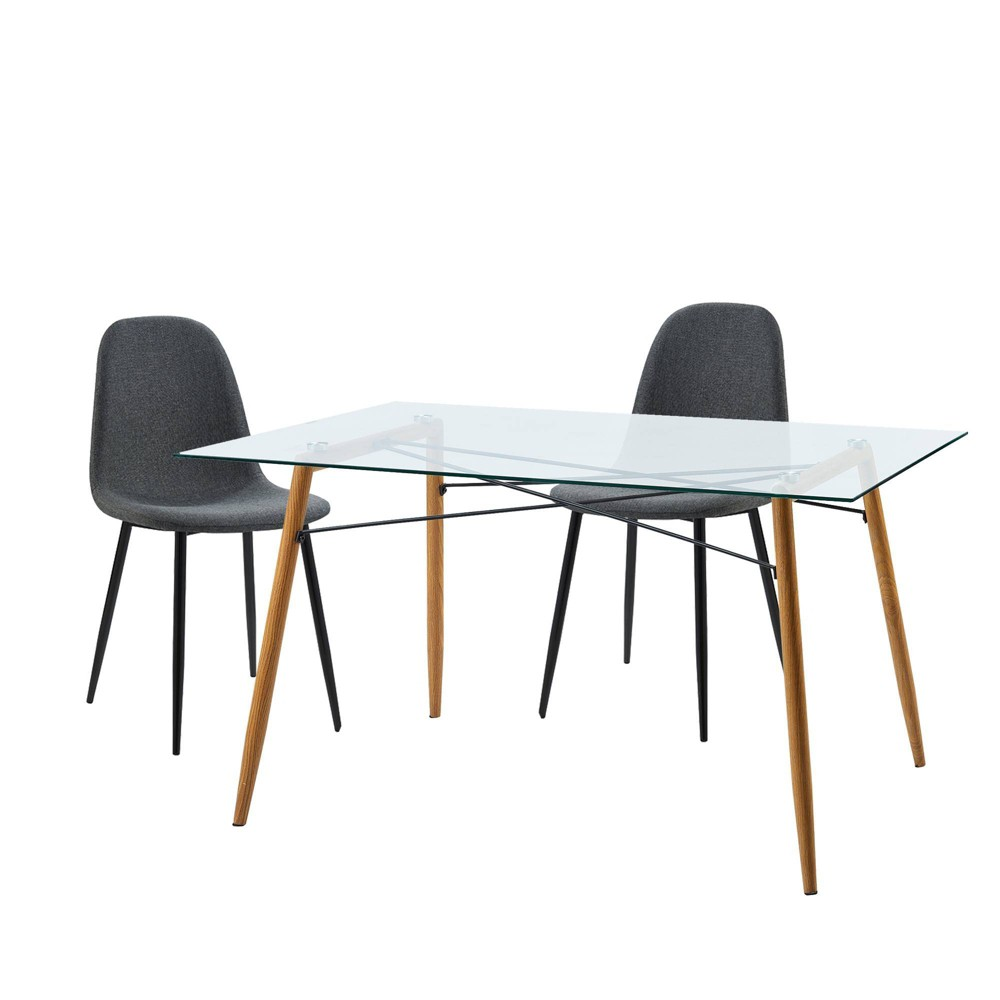 Minimalista Table & Set of 2 Chairs - Dark Gray - Versanora, Dark Heather