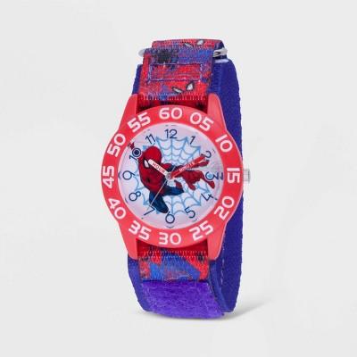 Kids' Marvel Spider-Man Red Plastic Time Teacher Watch - Blue