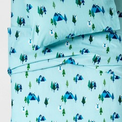 Yonder Yeti Flannel Sheet Set Turquoise - Pillowfort™