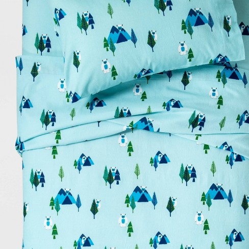 Yonder Yeti Flannel Sheet Set Turquoise - Pillowfort™ - image 1 of 2