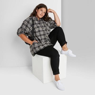 Women's Plus Size Plaid Long Sleeve Oversized Button-Down Shirt - Wild Fable™ Black/White 3X