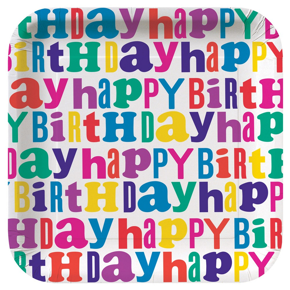 Image of Pink Happy Birthday 7 Paper Plates - 10ct - Spritz