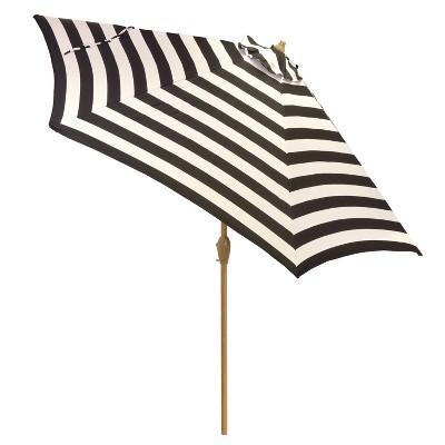 9' Round Patio Umbrella - Mitre Stripe - Light Wood Pole - Project 62™