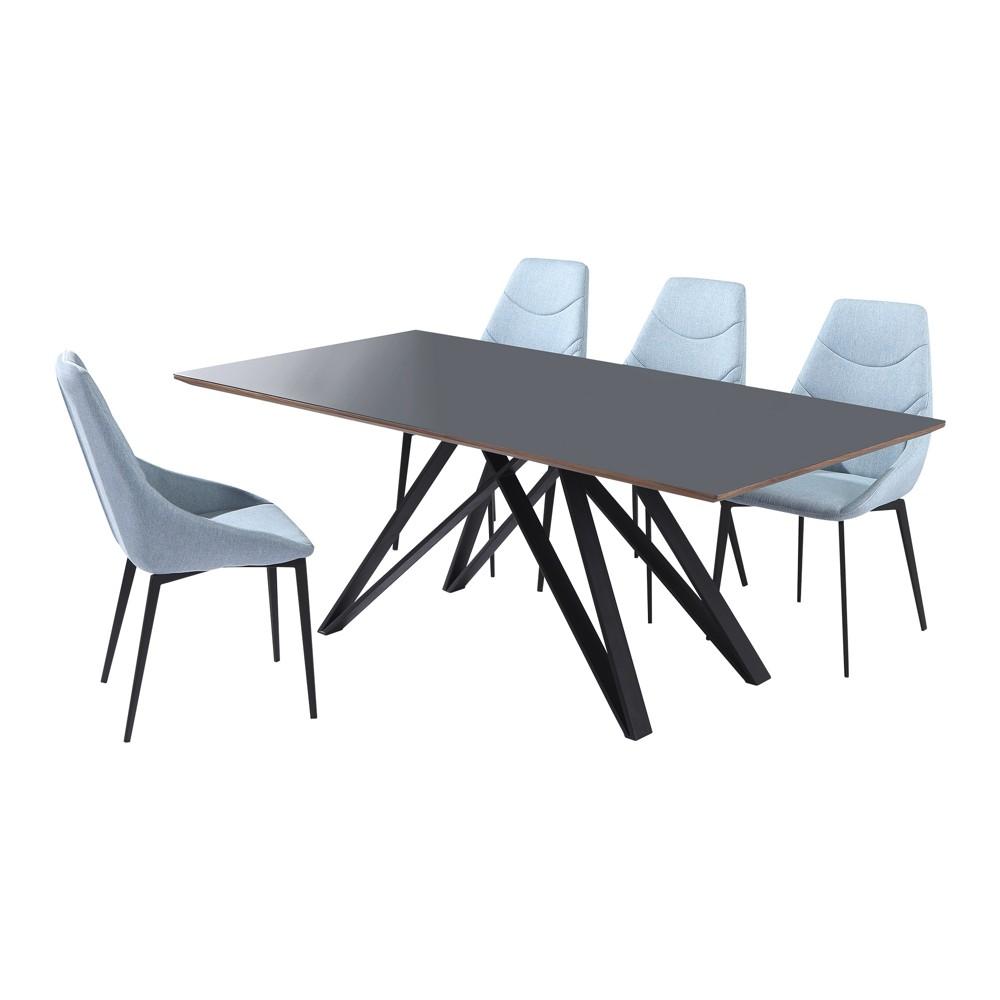 5pc Urbino Contemporary Metal Dining Set Walnut (Brown) - Armen Living