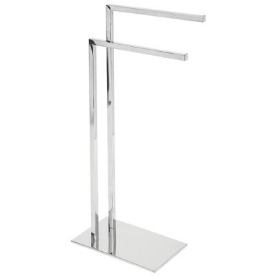 mDesign Tall Stainless Steel Bathroom Towel Storage Rack Holder, Chrome